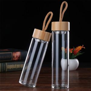 Tasses de verre transparentes monocouches bambous couverture eau tasse homme femme Home Office avec des cordes des eaux bouteille portable 16bd2 L1