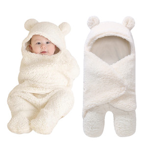 Autumn and Winter of 2019 Newborn Baby Boys Girls Cute Cotton Plush Receiving Blanket Sleeping Wrap Swaddle