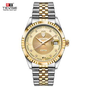 TEVISE Мода Автоматическая Мужчины Часы Luminous механические часы золото Циферблат Скелет мужчины часы Бизнес Мужские Наручные часы