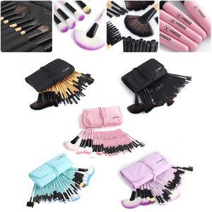 32pcs VENDA rosa Professional Cosmetic Maquiagem Sombra Brush Set + Bolsa Bag # R498