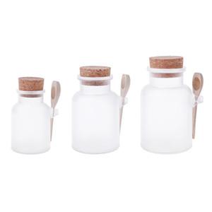 Scrub Bath Salt ABS Bottle Sealed Jar Wooden Spoon Soft Cork Storage Stopper Bottle Frosted Seal Refillable Mask Powder