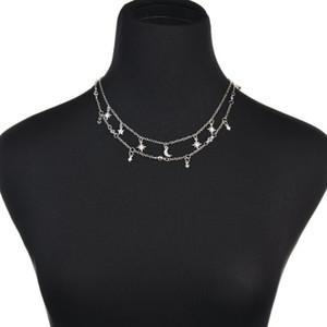 2019 New Double Five-Pointed Star Micro-Rhinestone chiusura a catena collana di gioielli femminili per le donne N1171