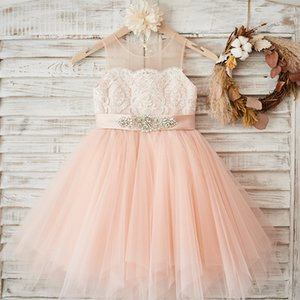 Pink Lace Flower Girl Dresses Beaded Tulle Formal Special Occasion Exchange Dress Pageant Gowns For Wedding Girls Dress 2020