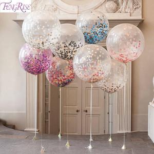 5adet Büyük Konfeti Balon Çok renkli Lateks Balonlar doğum günü partisi Romantik Düğün Dekorasyon Noel Partisi Malzemeleri 36inch