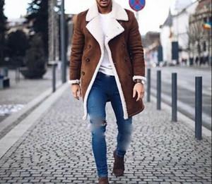 Mode Herren Pelz Fleece Trench Coats Revers Langarm Warm Fluffy Overcoat dünnen Männer zweireihiger Blazer Oberbekleidung