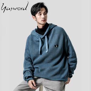 Yasword Hommes Casual Tricot Pull à capuche en laine couleur unie en vrac chaud Homme tricoté à capuche Sweatercoat Homme laine Tops Pull