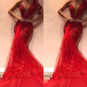 2019 Red Elegeant Prom Dresses One Shoulder Appliques Beads Tulle Long Vestidos Party Abiti da sera