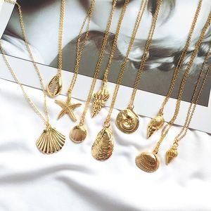 Moda color oro aleación Cowrie Shell collar para mujeres concha cadena colgante collar joyería de verano collar de estrellas de mar