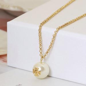 envío libre verdadero plateado perla T del logotipo del oro colgante collar de la marca B colgante