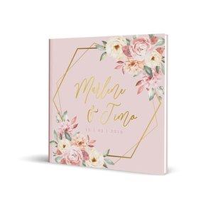 Floral rose de mariage Livre d'or personnalisé géométrique Livre alternatif Invité Connexion Livre d'engagement Livre photo de mariage Keepsake Autre événement