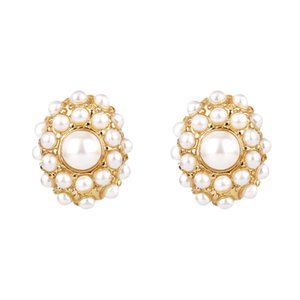 Fashion Jewelry Lovely Pearl Round Circle Drop Earring Simulated Pearl Stud Earrings For Women Party Birthday Gift