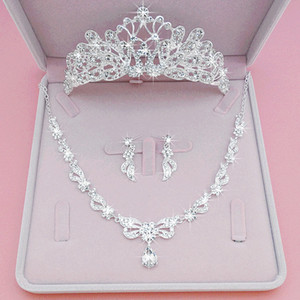 3шт комплект невесты корона головной убор 2020 Принцесса украшение для волос Европейский и американский жемчуг цветы круг супер брак ювелирные изделия обруч для волос