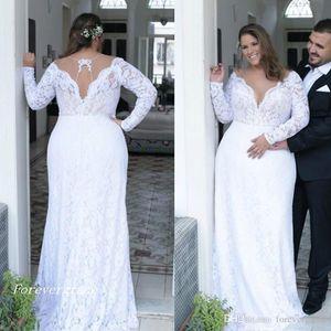 2019 Vintage Plunging V Neck Wedding Dress Backless Long Sleeves Bridal Gown Plus Size Custom Made