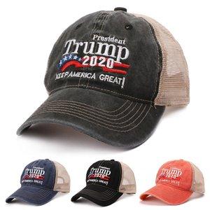 Donald Trump 2020 Baseball Cap Patchwork lavadas ao ar livre fazem chapéu América Great Again Republicano Presidente da malha boné desportivo LJJA-2423
