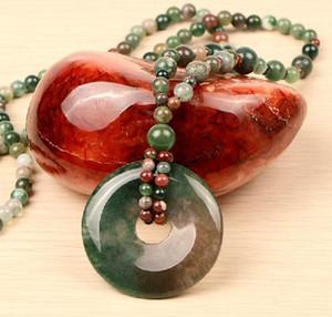 Nouveau gros sécurité Agate indien élodée Boucle collier pendentif long pull chaîne