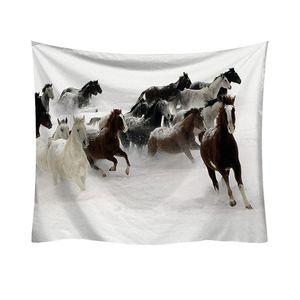 Hippie Pretty Horses Pattern Tapestry Tappetino da picnic Tappeto Yoga Poliestere Appeso a parete Biancheria da letto Home Decor Artigianato Arazzo w3-new-Lp-6