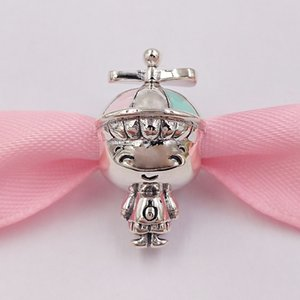 Autêntica 925 libras esterlinas grânulos de Propeller Hat encantos charme Boy único estilo europeu jóia de Pandora pulseiras Colar 798015ENMX