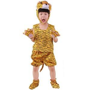 4pcs / set Cosplay Tiger Hayvanlar Kostüm Çocuk Tulumlar Cadılar Bayramı Kostüm Noel Carnival Parti Yaz Çocuk Doğum Kostüm 6 Boyutları