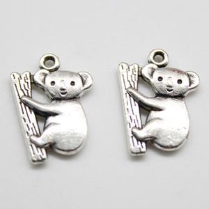 2019 Gros 100pcs / Lot Koala Tibet Argent charmes pendentifs Bijoux DIY Pour Collier Bracelet Boucles D'oreilles Style Rétro 20 * 14mm