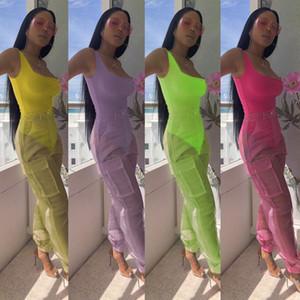 Donne tutine sexy organza pantaloni lunghi due set di pezzi Onesies vedere attraverso i pantaloni tasca bodycon tute della spiaggia della festa d'estate copre il vestito