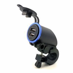 12V / 24V impermeable motocicleta dual USB zócalo del cargador del enchufe de adaptador de alimentación 2.1A 2.1A (4.2A) para tabletas móviles con Soporte de manillar