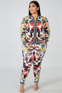 Frauen Sommer Designer 2Pcs lange Hosen Floral Sport Style Weibliche Kleidung Mode-Druck-Reißverschluss Lässige Kleidung
