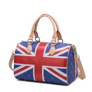 Nueva manera de lujo caliente desinger Inglaterra patrón de bandera señora de la mujer monedero ocasional bolso de cuero de Boston bolsas de hombro