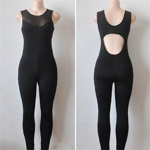 Women Fitness Sport Suit Sleeveless Jumpsuit Mesh Gym Running Sportswear Backless Tracksuit Yoga Set