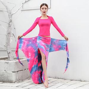 2020 Belly exercise suit long Coat jacket sleeve top slim T-shirt women's body Dance Top Dance suit