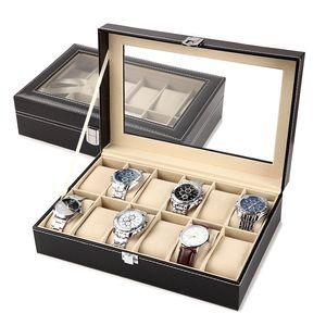 Exquisito cuero de la PU caja de reloj del organizador del sostenedor Relojes Almacenamiento regalo de la joyería cajas Caso de pantallas múltiples rejillas envío de la gota