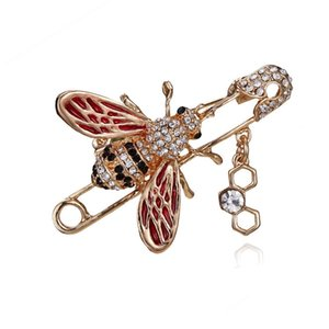 2019 top brand designer bee brooch women's female rhinestone pearl luxury brooch suit badge brand jewelry Ladies accessories