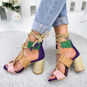 Verano Alpargatas Mujer Sandalias de tacón en punta boca de los pescados de la mujer ata para arriba la Plataforma de Mujeres sandalias de tacón alto zapatos de mujer