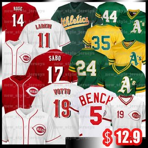 Rojos de Cincinnati Pete Rose 14 19 Joey Votto Chris Sabo Barry Larkin Johnny Benc jerseys del béisbol de Rickey Henderson Reggie Jackson