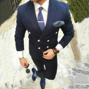 Navy Blue Mens Suits Smart Casual Business Slim Fit Wedding Tuxedos Groom Wear Double Breasted Bridegroom Suits 2Pieces Costume Homme Blazer