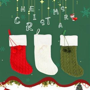 Aile Örgü Yün Noel Çorabı 3 Katı Renkler Şeker Hediye Çanta Örme Çorap Prop Çorap Parti kolye Süsleri