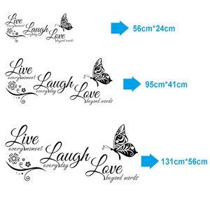 Live Lachen Liebe Schmetterling Blume Wandkunst Aufkleber Moderne Wandtattoos Zitate Vinyls Aufkleber Wandaufkleber Wohnkultur Wohnzimmer
