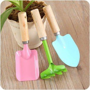 Home gardening tools, mini wooden handle, shovel, rake, 3 piece potted shovel set Garden tools Wooden shovel