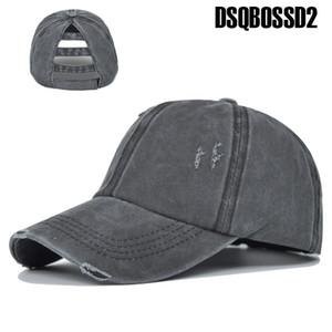 DSQBOSSD2 chapéu novo buraco verão retro esportes caminhadas rebote chapéu lavado ajustável cap algodão rabo de cavalo ocasional tampa solta baseball senhoras