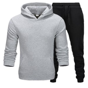 2020 New High Quality Tracksuit Men Solid Sets Casual Sports Suit Spring Autumn Men Sportswear Cotton Hoodie+Pants Training Suit S-3XL