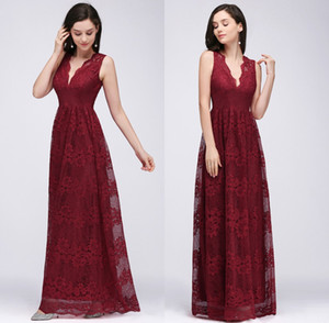 Burgundy V Neck Lace baratos longos vestidos da dama Ruched Andar do casamento do comprimento dos visitantes vestidos de festa madrinha de casamento Evening Wear CPS615