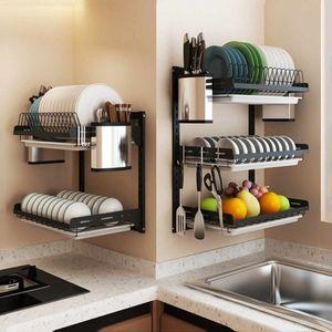 304 Edelstahl-Küche Abtropfbrett Teller Besteck Cup Dish Drainer Wäscheständer Wandmontage Küchen Organizer-Speicher-Halter T200319