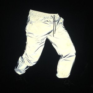 Spring Autumn Men Reflective Pants Night Reflect Light Joggers Men Hip Hop Punk Street Style Trousers Hiphop Dance Stage Costume