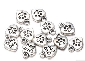 300pcs Lot Vintage Tibetan Silver Love My Dogs Heart Charms Pendants 13x10mm Charms for Jewelry Making DIY Bracelet Necklace