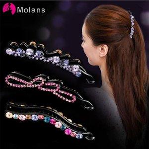 Molans Fashion Rhinestone Hairpins Muti-color Diamond Twist Hairpin Plastic Banana Clip for Girls Hair Grips Hair Accessories