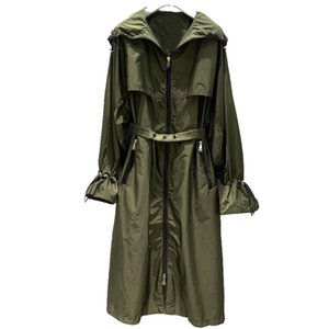 Damen Trench Mäntel Ankunft 2021 Frühlingsmode Lange Mantel Freizeit Schmetterlingshülse Mit Kapuze Weibliche Vintage Reißverschluss Outwear