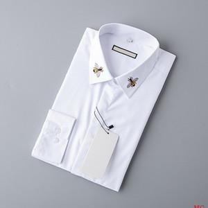 Automne 2019 Designer Hommes Chemises Mode Casual Haute Noble Queen Bee broderie blanche Bureau d'affaires Chemise à manches longues Marque Chemisier B100220V