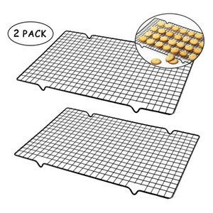 2pcs set Nonstick Metal Cake Cooling Rack Grid Net Baking Tray Cookies Biscuits Bread Drying Stand Cooler Holder Baking Kithcen Tools