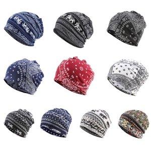 Unisex Fonksiyonlu Beanie Skullies Şapka Etnik Paisley Dijital Baskı hımbıl Turban Şapkalar Kemo Cap Infinity Eşarp