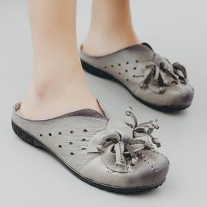 Mulheres sapatos de couro genuíno apartamentos calçados casuais Mulher Loafer Moda Flores Handmade macia Mocassins anti-derrapante sapatos Chinelos