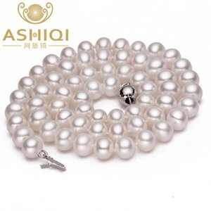 ASHIQI Real Natural Pearl Necklace jewelry Freshwater Pearl Necklaces for women wedding 925 Sterling Silver Buckle Jewelry
